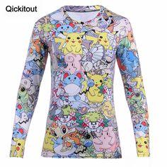 Qickitout 2016 OPCOLV 2016 New Fashion Women Totally Tshirt Print Pokemon Pikachu T-Shirt Casual Funny Graphic Hiphop 3D T Shirt
