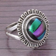 DICHORIC GLASS 925 SOLID STERLING SILVER DESIGNER RING 5.06g DJR4335 #Handmade #Ring