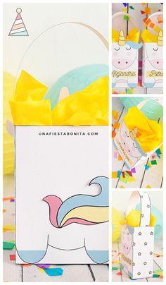 imprimir cajita de unicornio baby shower