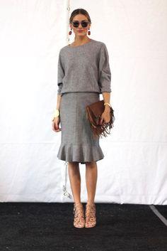 Heavy gray fall fabrics. Olivia Palermo wearing Carolina Herrera during NY Fashion Week 2014.