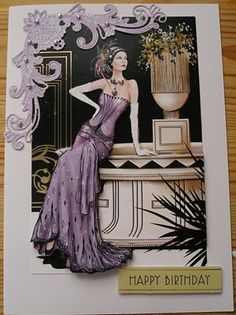 docrafts art deco lady decoupage card