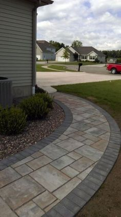 Awesome 33 Gorgeous Front Sidewalk Landscaping Design Ideas That You Must Know. Front Walkway Landscaping, Sidewalk Landscaping, Front Yard Walkway, Paver Walkway, Outdoor Landscaping, Backyard Patio, Outdoor Gardens, Landscaping Design, Walkways