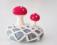 For M & B - crochet mushroom rock