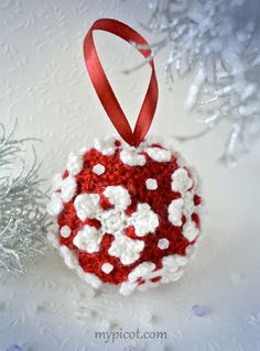 @ MyPicot - Free pattern - Crochet Christmas Bauble - made up of snowflake hexagon shapes