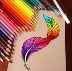 Rainbow feather drawing ♡