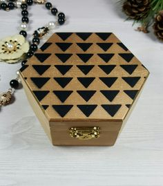 Hexagonal Geometric Jewelry Box, Wooden Box, Hand Painted, Gold, Hexagon, Handmade Mini Jewelry Box, Home Decor, Gift, Hipster Jewellery Box
