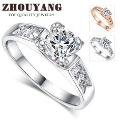 gemdivine.com zhouyang-classical-6mm-prong-setting-cz-wedding-ring-real-rose-gold-white-gold-plated-wholesale-for-women