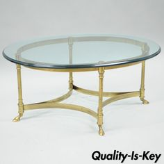 Elegant oval solid brass cocktail table with ogee edge glass top by LaBarge. Ogee Edge, Cobalt Glass, Traditional Furniture, Hollywood Regency, Cocktail Tables, Victorian, Brass, Italy, Coffee