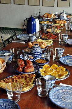 A true Moroccan breakfast, my favorite time of day in Morocco. فطور مغربي