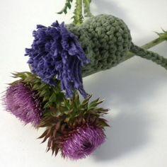 crocheted thistle  Ever since reading Diana Gabaldon's THE OUTLANDER, I've loved thistles!