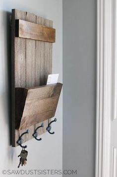 Farmhouse Style Mail and Key Holder. I need one of these for my tiny mudroom!
