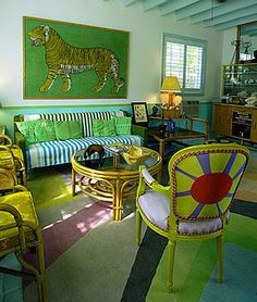 Gene Meyer's Miami house - rug by Doug and Gene Meyer..brilliant use of all different shades of green:-)