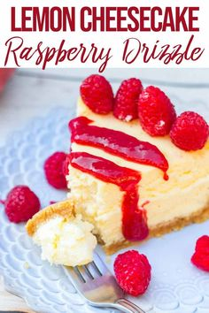This Lemon Cheesecake has loads of fresh lemon juice and zest! Finished with a raspberry drizzle you will love this Lemon Cheesecake dessert. The perfect make-ahead dessert recipe and a fabulous birthday cake! Cheesecake Desserts, Lemon Cheesecake, Lemon Desserts, Köstliche Desserts, Delicious Desserts, Dessert Recipes, Cheesecake Strawberries, Yummy Treats, Sweet Treats