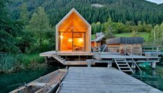 """Residential Architecture: Bath House in Carinthia by Peter Jungmann: """"..on the picturesque image of lake weissensee in southern austria, a cloister of pristine wooden homes and apartments as part of thealte saegerecreational resort built in 2007, winning several awards in the proceeding years. just recently, architect peter jungmann crowned the complexwith the 'bath house' located on the water's edge as a satellite structure to the rest of the residences. the timber construction is seeming..."""