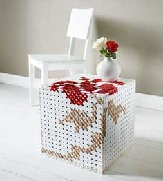 Cube or box from pegboard with cross stitch