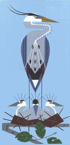 Aves Acuáticas Garzas Vintage Charlie Harper
