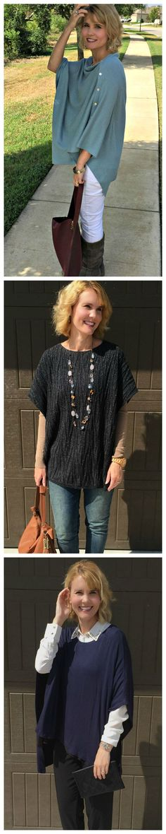 Looking for poncho outfit ideas? The poncho is a fantastic addition to your fall wardrobe. Throw is over a t-shirt and jeans or even for for a dressy look. Here are 3 different outfit ideas for fall and winter.