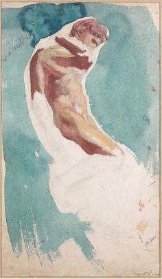 Auguste Rodin. Prométhée / Prometheus. Fusain, aquarelle et gouache sur papier / 43 x 23.5 cmVers / Circa 1875