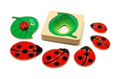 Developmental toy wooden counting puzzle pyramid for kids - The ladybug toy. on Etsy, £19.18