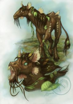 Kelpie are Scottish water faeries which appear in the guise of a young horse. They will let humans mount them, but then gallop back into the water, and tear the human to pieces, devouring them.