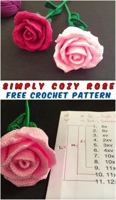 Free Crochet Pattern with tutorial This project belongs to very easy, slowly step by step with written instructions you will crochet your own cozy rose.