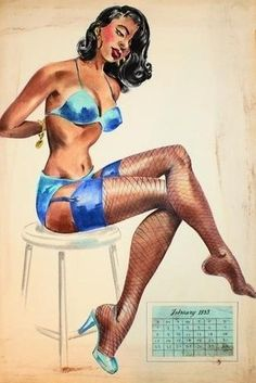 Vintage African American pin up art, 1953.