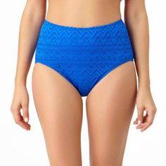 Catalina Missy Solid Crochet High Waisted Bottom, Women's, Size: Medium, Blue