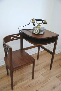 Vintage Telephone Table-Desk SET PIECE- This is a place to put the typewriter on. I think it fits the style of the other furniture. Art Deco Furniture, Vintage Furniture, Cool Furniture, Furniture Design, Desk Set, Table Desk, Desk Chair, Vintage Telephone Table, Telephone Seat