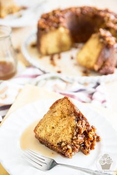 Soaked in a warm, boozy maple bourbon sauce, topped with sticky, caramelized walnuts, this Maple Bourbon Walnut Cake is an experience you won't soon forget! Caramelized Walnuts, Strawberry Mojito, Alcoholic Desserts, Walnut Cake, Toasted Marshmallow, Cake Batter, Cake Plates, Cravings, Sweet Treats