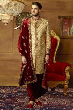Sherwani for groom: buy golden art banarasi silk indian mens sherwani online Sherwani Groom, Mens Sherwani, Wedding Sherwani, Punjabi Wedding, Tuxedos, Groom Outfit, Groom Dress, Men Dress, Wedding Dress Men