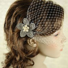 Classic Birdcage Veil, French Veiling, Wedding Bridal Veil, Bridal Bandeau, Vintage Style Wedding Bird Cage Veil, Avail. in White or Ivory -. $35.00, via Etsy.