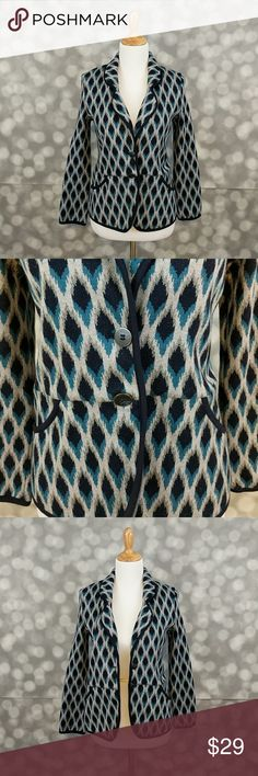 """Pendleton Thick Cotton Career Blazer Thick cotton blazer from Pendleton I. Gray, navy, and teal geometric print. Although blazer is listed as a petite, it fits me at 5'8"""" with a cute fit. Pendleton Jackets & Coats Blazers"""