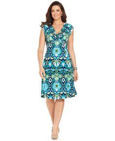 Jones New York Plus Size Dress, Cap-Sleeve Ikat A-Line - Plus Size Dresses - Plus Sizes - Macy's