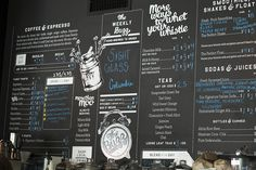 Chalk Menu Board, with Division and Decals Menu Board Design, Menu Design, Cafe Design, Coffee Shop Menu, Coffee Shop Design, Cafe Menu Boards, Chalk Menu, Honey Brand, Chalkboard Designs