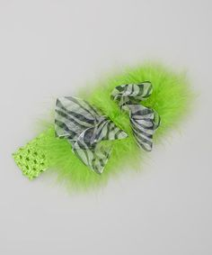 Take a look at this Zebra & Lime Marabou Bow Headband by Bizzy Bumpkins on #zulily today!