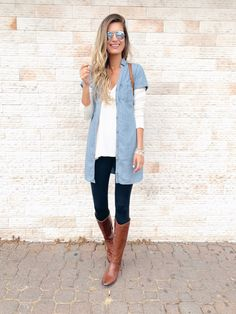 Casual Fall Outfits, Stylish Outfits, Work Outfits, Latest Summer Fashion, Fall Capsule Wardrobe, Autumn Clothes, Chambray Dress, Vintage Jeans, Dress To Impress