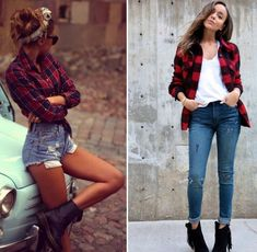 swag girl ado / woman- tartan flannel shirt and jeans short or long … Beute Mädchen Ado / Frau-Tartan Flanellhemd und kurze oder lange zerrissene Jeans – Camping Outfits For Women, Outfits For Teens, Plus Size Outfits, Swag Outfits, Girl Outfits, Fashion Outfits, Swag Fashion, Autumn Fashion 2018 Women, Womens Fashion