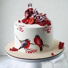 🤔 Christmas art decoration❤🍰 Do you like birds? Red color😍😻 - Start to bake… Christmas Cake Designs, Christmas Desserts, Christmas Baking, Christmas Art, Christmas Wedding, Pretty Cakes, Beautiful Cakes, Amazing Cakes, Winter Torte