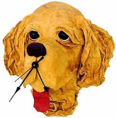 paper mache dog clock
