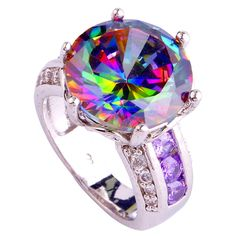 lingmei Wholesale Fashion New Jewelry Noble Rainbow & White Topaz Amethyst  Silver Ring Size 6 7 8 9 10 11 12 Free Shipping