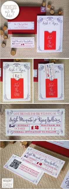 Tickets with mini pocket Wedding Save the Date. Purple red and white wedding, Unique Save the Date Ideas, Ticket Save the Date, Wouldn't it be Lovely