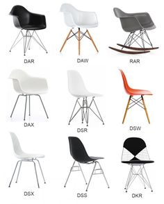 Many differnet designs with wire legs. The contrast of the straight lines legs and the curvy bodys makes these chairs very interesting.