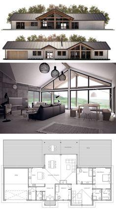 Architecture House Plan, Home Plans, Casa Pequna, Planta de Casa, New House Plans, Modern House Plans, Small House Plans, Modern House Design, House Floor Plans, Modern Farmhouse Plans, Home Projects, Building A House, Ramen