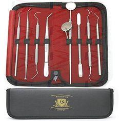 BeautyTrack® – Pro scalers d'hygiène dentaire et miroir Kit. 10 pièces Livré dans étui en cuir.: Amazing 10 pièces en acier inoxydable +…
