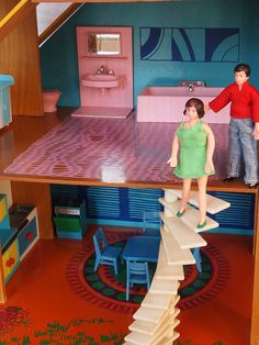 1974 OKWA dolls house - Treppe | JEAN Badezimmer, Modella Kü… | Flickr