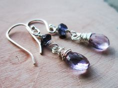 Lilac Earrings Pale Amethyst Violet Quartz by thelittlehappygoose,