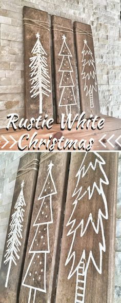 Rustic White Wooden Christmas Tree Signs | I need more mantels!!| #Christmas #tree #rustic #afflink #decor #whitechristmas #diy #farmhouse