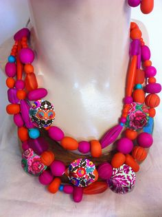 Cleo necklace in Hot Pink and Orange from Anna Chandler Design, Australia.