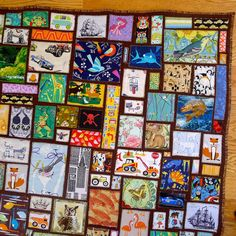 close-up of ticker tape i spy quilt | by pinget