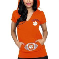 Clemson Tigers Ladies Glitter Hooded T-Shirt - Orange